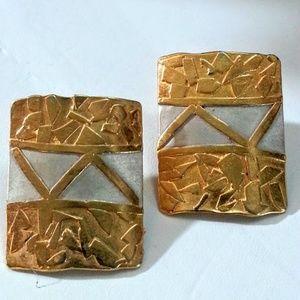 Modernist sterling gold rectangle shaped earrings